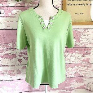 THE TOG SHOP Green Short Sleeve Blouse Size Large